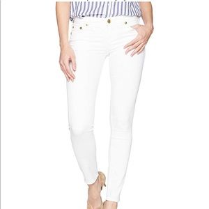 White denim jeans with hot pink rhinestone back
